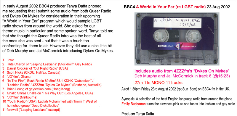 BBC4 A World In Your Ear 23 Aug 2002 cassette scan and text