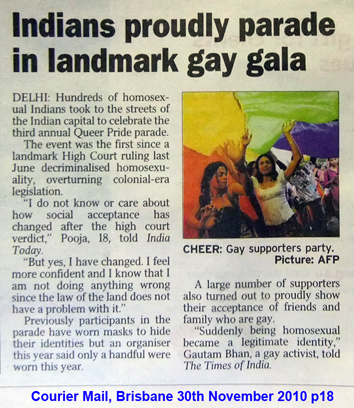 Courier Mail article 30 Nov 2010 Indians prudly parade in landmark gay gala