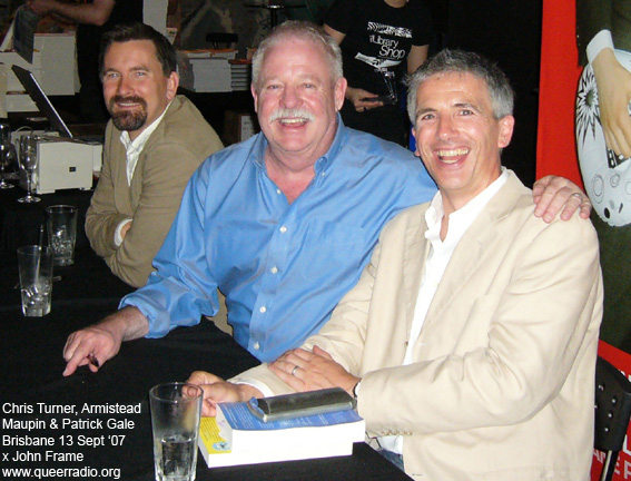 photo of Chris Turner, Armistead Maupin and Patrick Gale 13th Sept 07 by John Frame