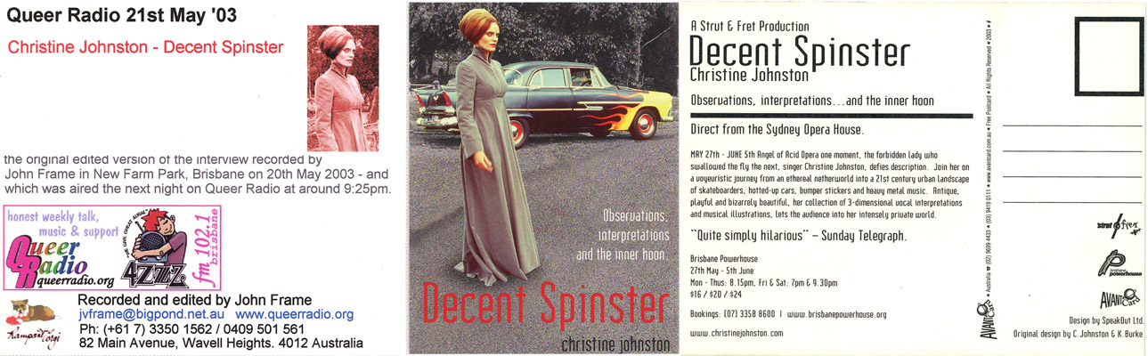 Christine Johnston artwork and postcard re Decent Spinster show