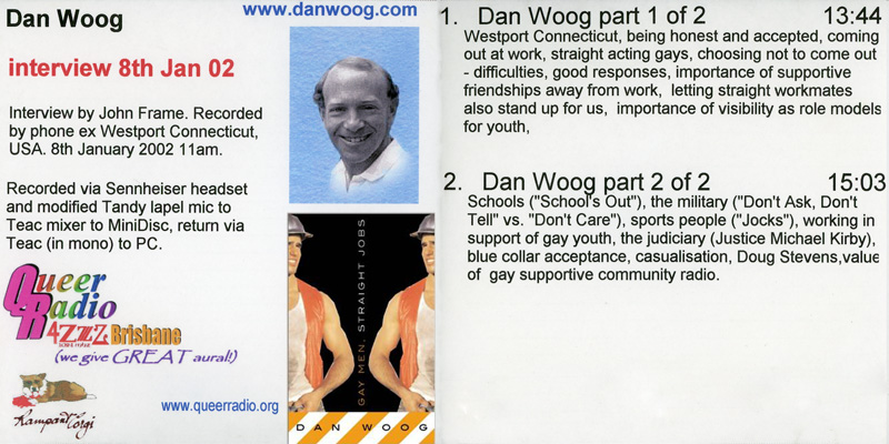 Dan Woog interview Queer Radio archive CD cover scan