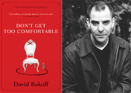 publicity photo of David Rakoff plus cover art for Don't Get Too Comfortable