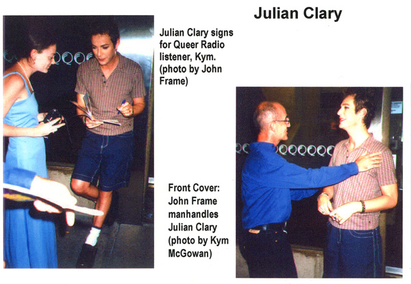 Photos of Julian Clary at QPAC Brisbane March 1998 by John Frame and Kym McGowan