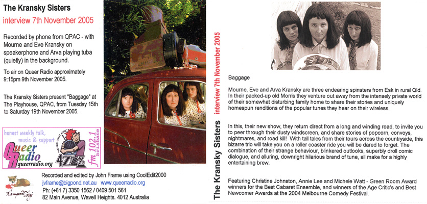 Kransky Sisters artwork and promotional text for their Baggage tour