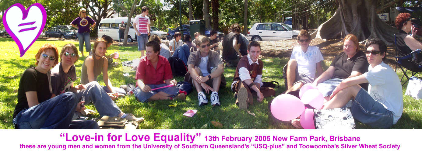 photo of young men and women from USQ-Plus and Silver Wheat Society at the Love-in for Love Equality 13th Feb 2005