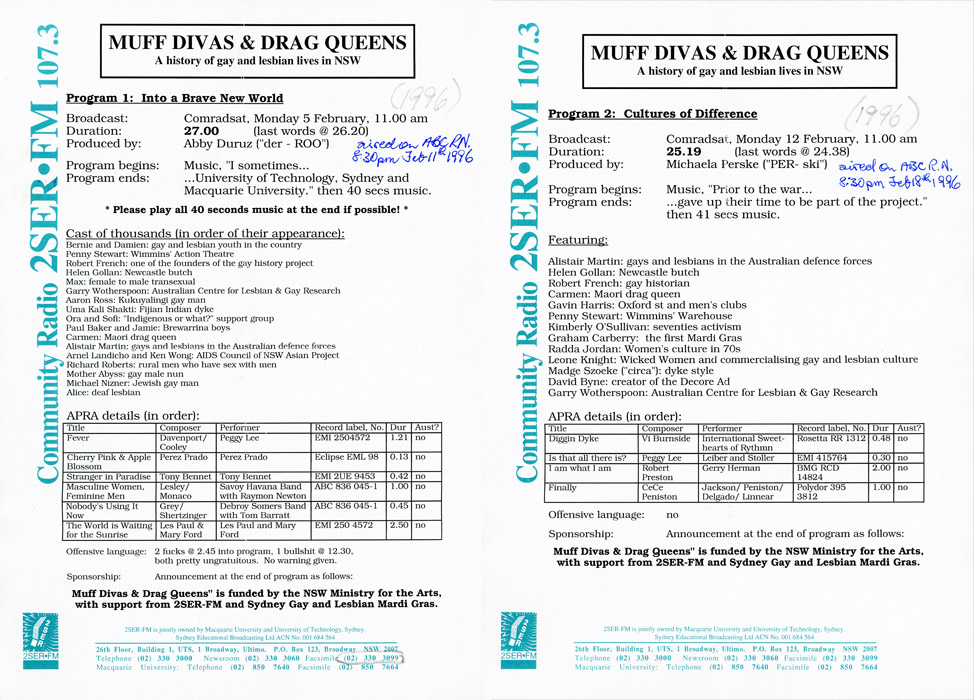 Muff Divas And Drag Queens program information sheets as 250k jpg image