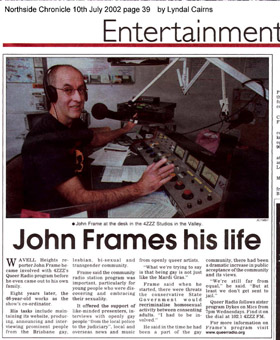 Northside Chronicle article 10th July 2002 re John Frame (69K)