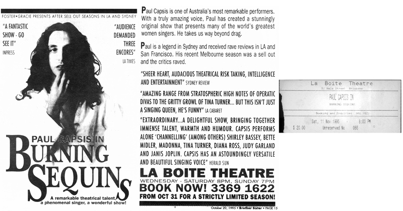 BrotherSister advert for Burning Sequins + ticket for 11 Nov '95 at La Boite