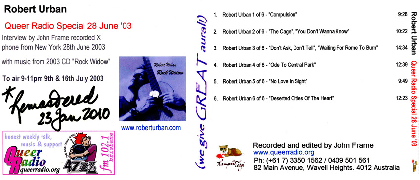 Robert Urban 2003 Queer Radio special artwork