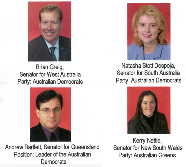 Senators who spoke for Marriage Equality on 13 Aug 2004