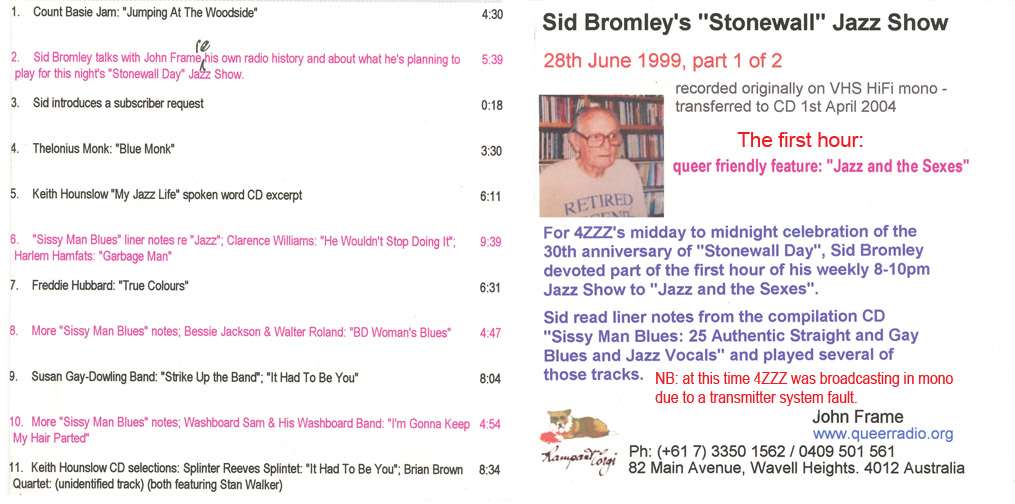 Sid Bromley Jazz Show 4ZZZ_28June1999_1of2 playlist