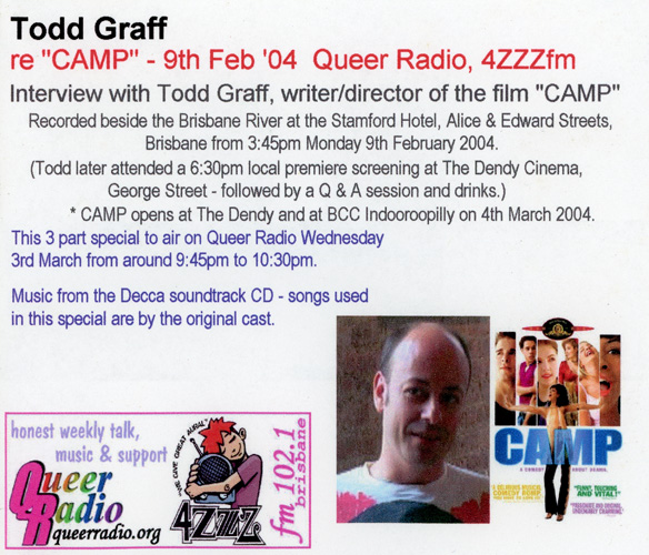 scan of CD cover of Todd Graff interview re CAMP